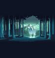 magic deer in night forest mystical glowing stag vector image vector image