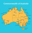 map of australia with major towns and cities vector image vector image