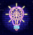 neon signboard brain light bulb idea vector image