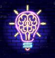 neon signboard brain light bulb idea vector image vector image