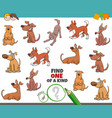one a kind game for kids with dogs vector image vector image