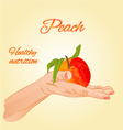 Peach in the palm of healthy nutrition vector image