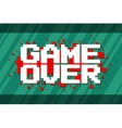 Pixel computer game over screen on red background vector image vector image