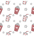 popcorn and drink doodle seamless vector image vector image