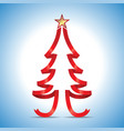 red ribbon christmas tree and golden stars vector image