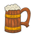 retro wooden mug beer in engraving style vector image vector image