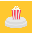 Round stage podium Popcorn red white strip box vector image