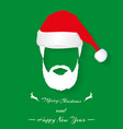 santa hat and beard on green background with vector image