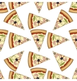 Seamless pattern color pizza with shrimp vector image
