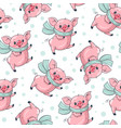 seamless pattern with cute cartoon pigs vector image vector image