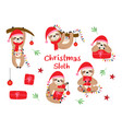 set isolated christmas sloths with gifts vector image vector image