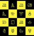 set of 16 editable cleaning outline icons vector image