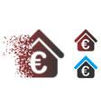 shredded pixel halftone euro loan real estate icon vector image vector image