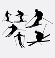 Skiing sport silhouette vector image vector image