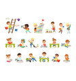 smart little kids reading books set cute vector image vector image