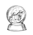 snow globe with christmas gifts souvenir vector image vector image