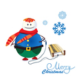 Snowman with sled vector image vector image