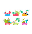 summer travel logo template set beach party vector image vector image