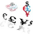 Symbols of world currencies vector image vector image