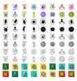 types of funny microbes cartoon icons in set vector image