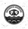 underwater adventure and diving emblem vector image vector image