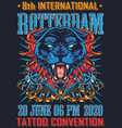 vintage tattoo fest in rotterdam poster vector image vector image