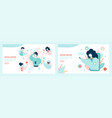 virtual doctor landing page flat template set vector image