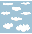 White clouds on light blue sky background set vector image vector image