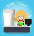 Woman working at desk with big glass of milk vector image vector image