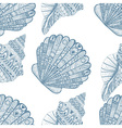 Zentangle stylized ocean shells seamless pattern vector image vector image