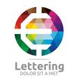 Logo Abstract Lettering E Rainbow Alphabet Icon vector image