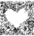 Heart silhouette on hand drawn floral background vector image