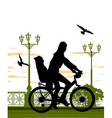 woman and baby on bike vector image