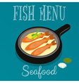 Fried Fish in Frying Pan vector image