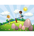A boy and a girl riding a seesaw vector image vector image