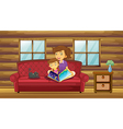 A mother reading with her daughter at the sofa vector image