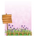 A wooden signboard in the garden with lavender vector image vector image