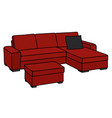 big dark red sofa vector image vector image
