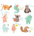 big set funny cartoon animals vector image vector image