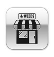 black marijuana and cannabis store icon isolated vector image vector image