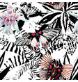 butterflies and orchid watercolor exotic pattern vector image vector image