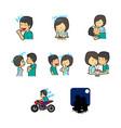 cartoon couple emoticon sticker vector image vector image