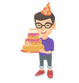 caucasian child holding birthday cake with candles vector image vector image