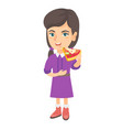 caucasian girl eating tasty pizza vector image vector image
