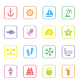 colorful flat icon set 9 rounded rectangle frame vector image vector image