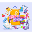 colorful of big yellow backpack with many sc vector image vector image