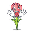 crazy crocus flower mascot cartoon vector image vector image