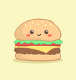 cute hamburger burger cartoon vector image