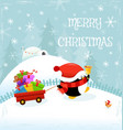 cute penguin delivering gifts vector image vector image