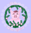 cute pig in the snow-covered window vector image vector image